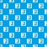 Fire exit sign pattern seamless blue Royalty Free Stock Photo