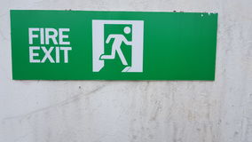 Fire exit. Sign in stadium Stock Photo
