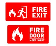 Fire Exit Sign Template Designs - Printable Safety Signs and Symbols. Two Emergency Fire Exit Sign Designs - Printable Safety Sign Templates with Arrows. Icon of stock illustration
