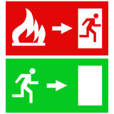 Fire exit signs. Red rectangular emergency fire exit sign and green rectangular emergency exit sign on a white background, illustrations with human figures Royalty Free Stock Images