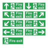 Fire exit 9 signs. Vector Icons. Direction of evacuation in case of an emergency. Nine directions Stock Image
