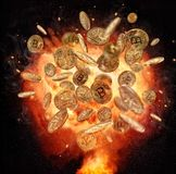Fire explosion of Bitcoins crypto currency symbol,  on b. Lack background. Concept of digital currency and risk Royalty Free Stock Photo