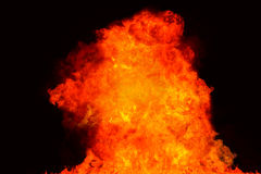 Fire explosion on black background Stock Photo