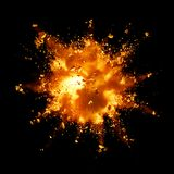 Fire explosion. With debris against black background Royalty Free Stock Photos
