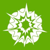 Fire explosion icon green. Fire explosion icon white isolated on green background. Vector illustration Royalty Free Stock Image