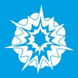 Fire explosion icon white. Isolated on blue background vector illustration Stock Photos