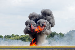 Fire explosion. Large explosion with black smoke stock image