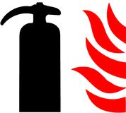 Fire Extinguiser tube tool an illustrated Icon isolated on white Background.  Royalty Free Stock Photography