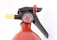 Fire Extinguisher. Red fire extinguisher, pressurized and ready to go Stock Photos