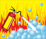 Fire extinguisher. An illustration about fire danger and prevention Royalty Free Stock Photo