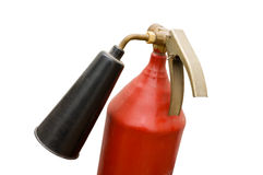 The fire extinguisher. The red foamy fire extinguisher on a white background Royalty Free Stock Photography