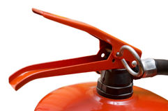The fire extinguisher. The red foamy fire extinguisher on a white background Stock Images