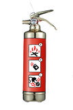 Fire Extinguisher. Gold fire extinguisher with illustrations portraying its purposes and usage against dangerous activities that cause fire, blaze, burn or Royalty Free Stock Images