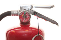 Fire extinguisher. Used fire extinguisher isolated on white Stock Image