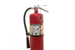 Fire extinguisher. Used fire extinguisher on white Stock Photo
