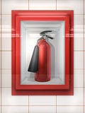 Fire Extinguisher. In red Cabinet on Wall Royalty Free Stock Photo