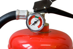 Fire extinguisher. Head of fire extinguisher fully charged with gauge pressure, safety. emergency equipment, manometer, isolated on white royalty free stock image