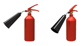 The fire extinguisher. 3d render of  red fire extinguisher on a white background Stock Photo
