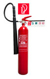 Fire extinguisher. And sign isolated over a white background Royalty Free Stock Photography