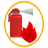 Fire extinguisher. And fire in an oval frame. Illustration on white background Royalty Free Stock Photos