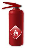 Fire extinguisher. Illustration of an fire extinguisher, isolated, side view Stock Images