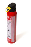 Fire extinguisher. Red small dry powder fire extinguisher, isolated on a white background, with clipping path royalty free stock photos