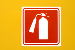 Fire extinguisher. Sign, stuck on the wall. Ideal for fire concepts Stock Illustration
