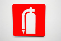 Fire extinguisher. A sign showing fire extinguisher Stock Photo
