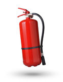 Fire extinguisher. In the air on white background stock photography