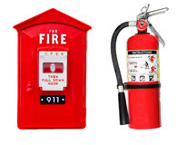 Fire extinguisher and alarm box isolated stock photos