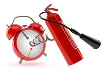 Fire extinguisher with alarm clock. Isolated on white background Royalty Free Stock Images