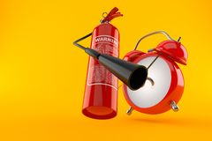 Fire extinguisher with alarm clock. On orange background Stock Photography