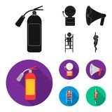 Fire extinguisher, alarm, megaphone, fireman on the stairs. Fire departmentset set collection icons in black, flat style. Vector symbol stock illustration Royalty Free Stock Photography