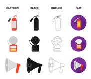 Fire extinguisher, alarm, megaphone, fireman on the stairs. Fire departmentset set collection icons in cartoon,black. Outline,flat style vector symbol stock Royalty Free Stock Photo