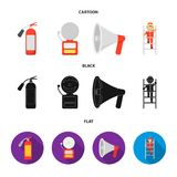 Fire extinguisher, alarm, megaphone, fireman on the stairs. Fire departmentset set collection icons in cartoon,black. Flat style vector symbol stock Stock Images