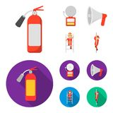 Fire extinguisher, alarm, megaphone, fireman on the stairs. Fire departmentset set collection icons in cartoon,flat. Style vector symbol stock illustration Royalty Free Stock Photography