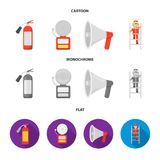 Fire extinguisher, alarm, megaphone, fireman on the stairs. Fire departmentset set collection icons in cartoon,flat. Monochrome style vector symbol stock Royalty Free Stock Photos