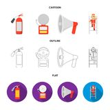 Fire extinguisher, alarm, megaphone, fireman on the stairs. Fire departmentset set collection icons in cartoon,outline. Flat style vector symbol stock Stock Photo