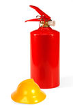 Fire Extinguisher And A Fire Helmet Stock Photography