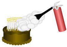 Fire Extinguisher on Birthday Cake. A fire extinguisher is used to put out the many candles on a birthday cake Stock Photos