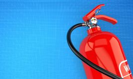Fire extinguisher. With blueprint background Stock Images