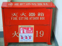 Fire extinguisher box Royalty Free Stock Image