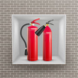 Fire Extinguisher In Brick Wall Niche Vector. Metal Glossiness 3D Realistic Red Fire Extinguisher Illustration. Fire Extinguisher In Wall Niche Vector. Realistic Royalty Free Stock Photo
