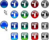 Fire-extinguisher buttons. A lot of Fire-extinguisher icons. Vector illustration Stock Photography