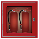 Fire extinguisher cabinet. Design Royalty Free Stock Image