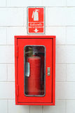 Fire extinguisher cabinet. 