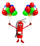 Fire Extinguisher character with Ballons Royalty Free Stock Photo