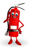 Fire Extinguisher character with best sign Stock Photo