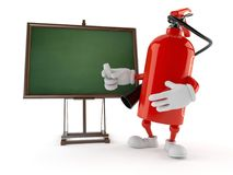 Fire extinguisher character with blank blackboard. Isolated on white background. 3d illustration Royalty Free Stock Photos