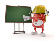 Fire extinguisher character with blank blackboard. On white background Stock Photography